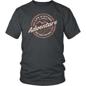 Life Is A Great Adventure T-shirt District Unisex Shirt Charcoal S