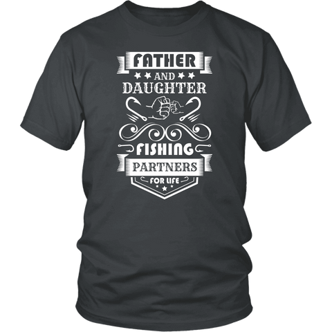 Image of Father and Daughter Fishing Partners T-shirt District Unisex Shirt Charcoal S
