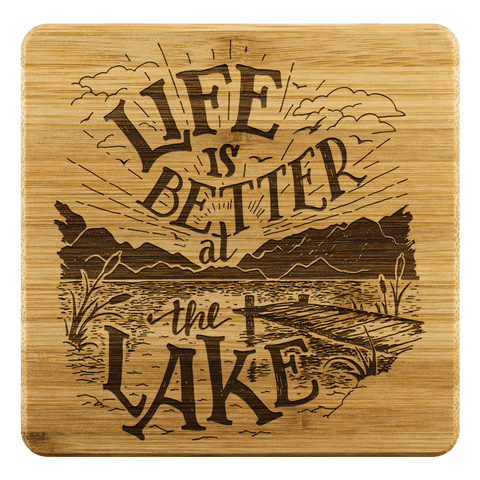 Image of Life is Better at the Lake Coasters Coasters Bamboo Coaster - 4pc