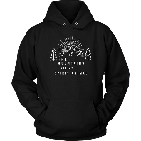 Image of Mountains Spirit T Shirt 1 T-shirt Unisex Hoodie Black S