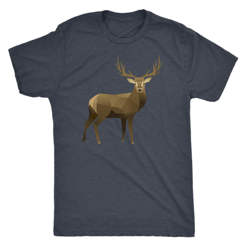 Real Polygonal Deer T-shirt Next Level Mens Triblend Vintage Navy S