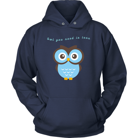 Image of Owl You Need is Love T-shirt Unisex Hoodie Navy S