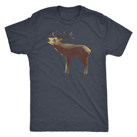 Image of Large Polygonaly Deer T-shirt Next Level Mens Triblend Vintage Navy S