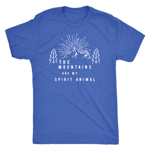Image of Mountains Spirit T Shirt 1 T-shirt Next Level Mens Triblend Vintage Royal S