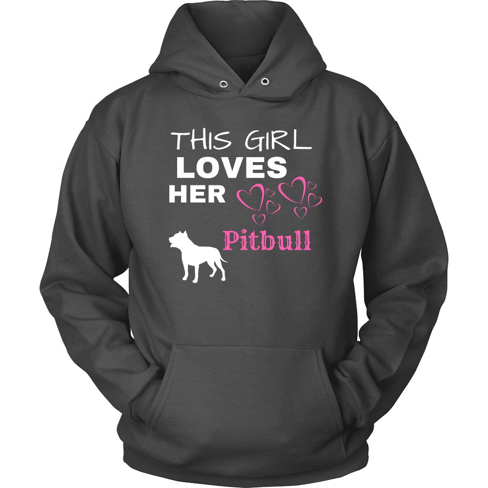 This Girl Loves Her Pitbull T-shirt Unisex Hoodie Charcoal S