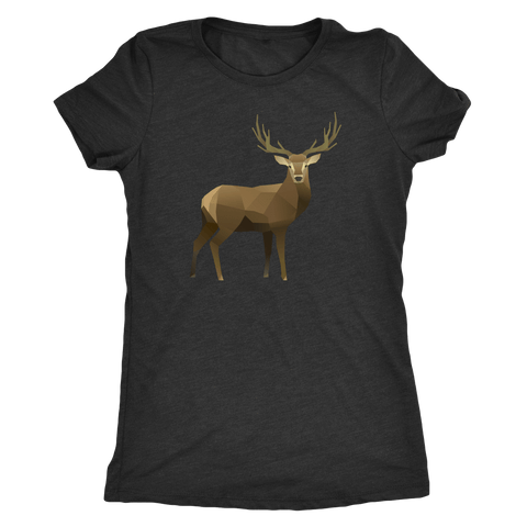 Real Polygonal Deer T-shirt Next Level Womens Triblend Vintage Black S