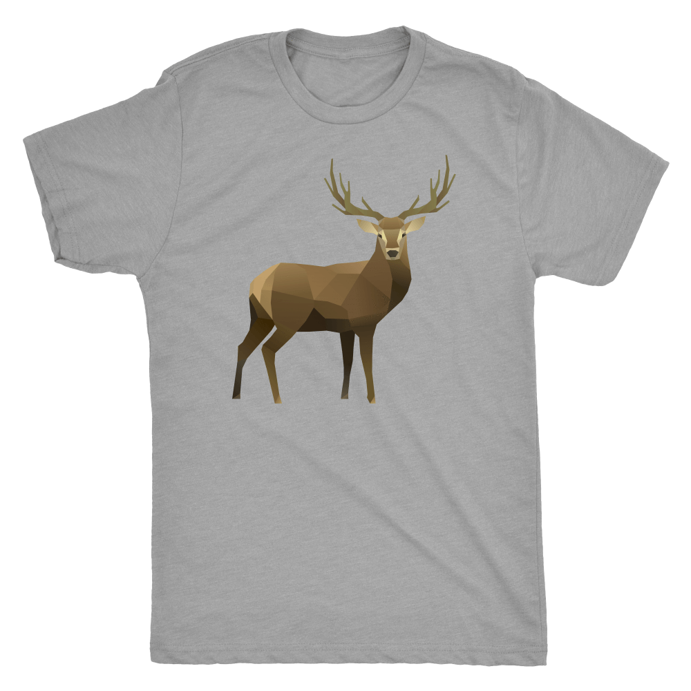 Real Polygonal Deer T-shirt Next Level Mens Triblend Premium Heather S