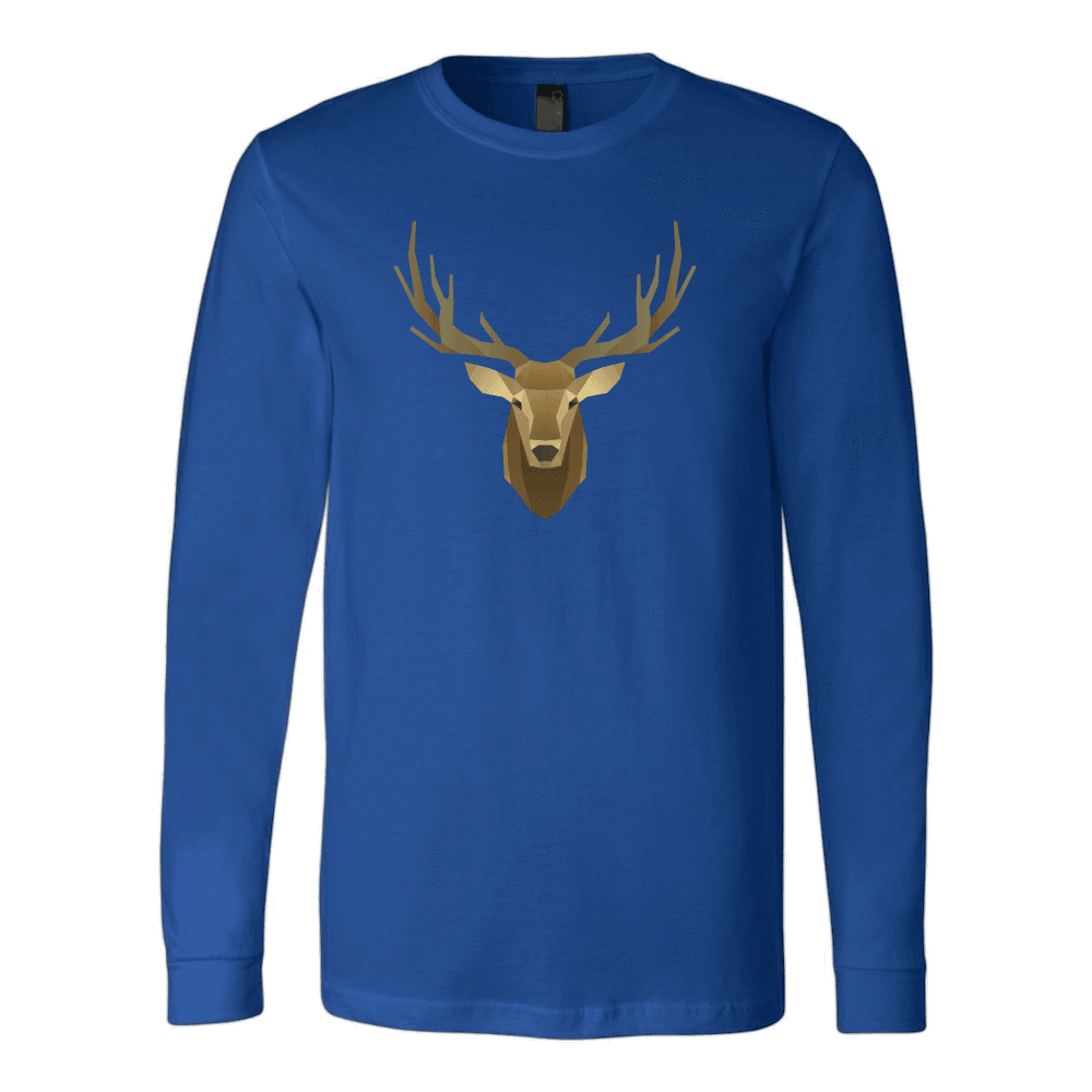 Deer Portrait, Real T-shirt Canvas Long Sleeve Shirt Royal S