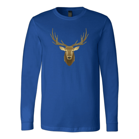 Image of Deer Portrait, Real T-shirt Canvas Long Sleeve Shirt Royal S