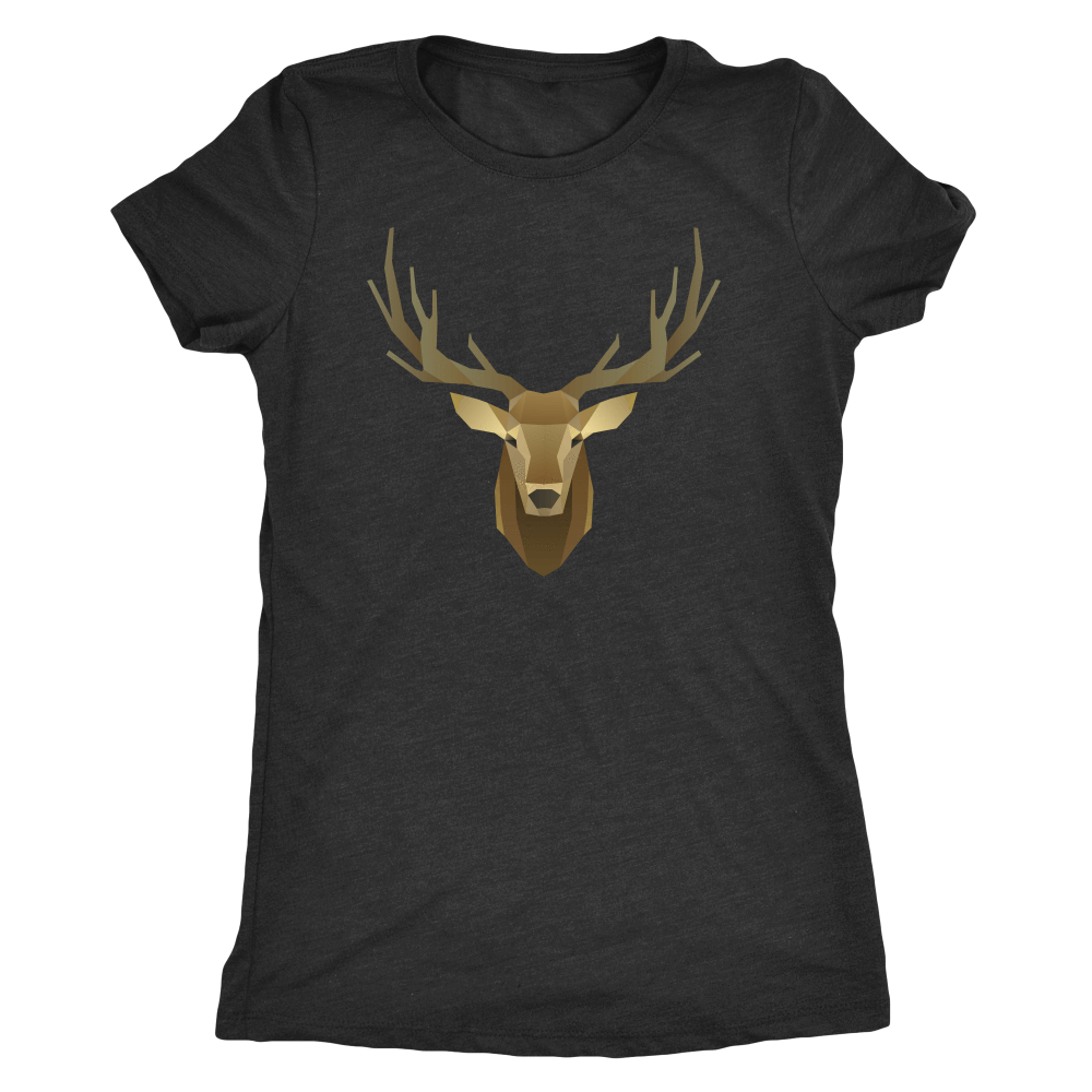 Deer Portrait, Real T-shirt Next Level Womens Triblend Vintage Black S