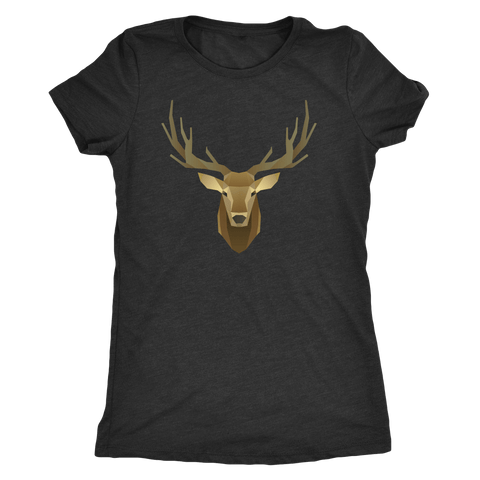 Image of Deer Portrait, Real T-shirt Next Level Womens Triblend Vintage Black S