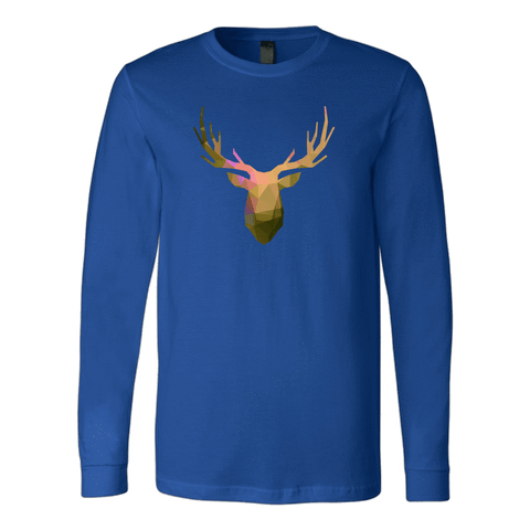 Deer Polygonal 2 T-shirt Canvas Long Sleeve Shirt Royal S