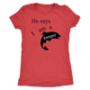 He Says I Am A Keeper T-shirt Next Level Womens Triblend Vintage Red S