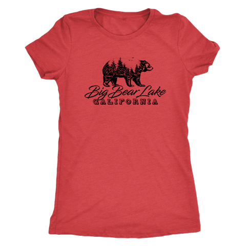Image of Big Bear Lake California V.2, Womens, Black T-shirt Next Level Womens Triblend Vintage Red S