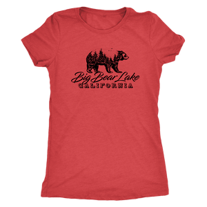 Big Bear Lake California V.2, Womens, Black T-shirt Next Level Womens Triblend Vintage Red S