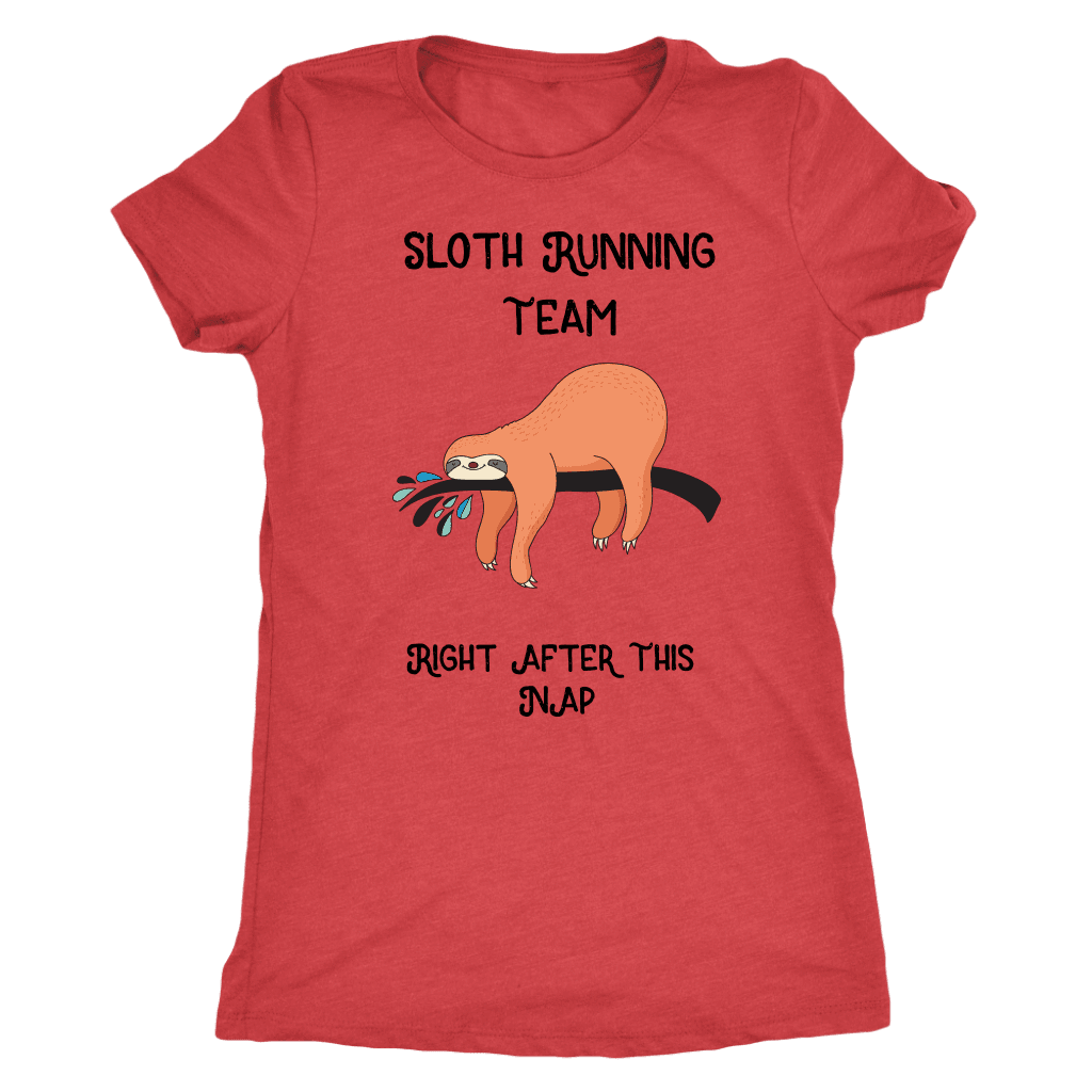 Sloth Running Team T-shirt Next Level Womens Triblend Vintage Red S