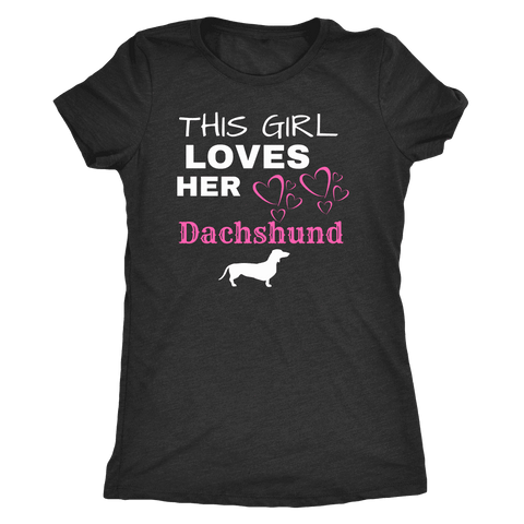 Image of This Girl Loves Her Dachshund T-shirt Next Level Womens Triblend Vintage Black S