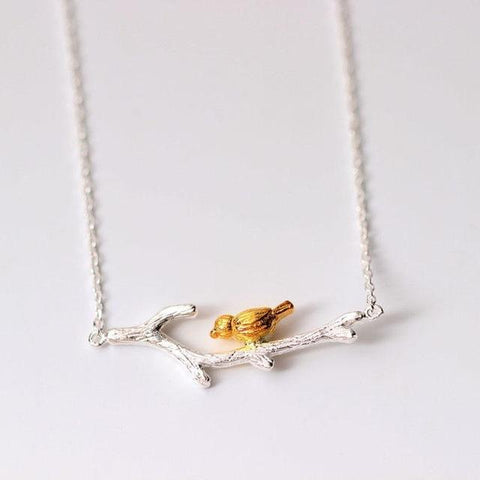 Original 925 Sterling Silver Brach with Golden Bird Necklace & Pendant
