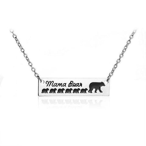 """Mama Bear"" Necklace Mother Bear and a group of Baby Bear 1 - 6 Necklace 6 Cubs"