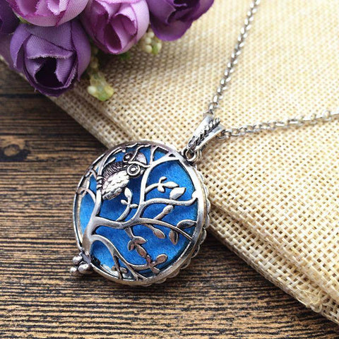 Owl on Tree of Life Vintage Silver Necklace