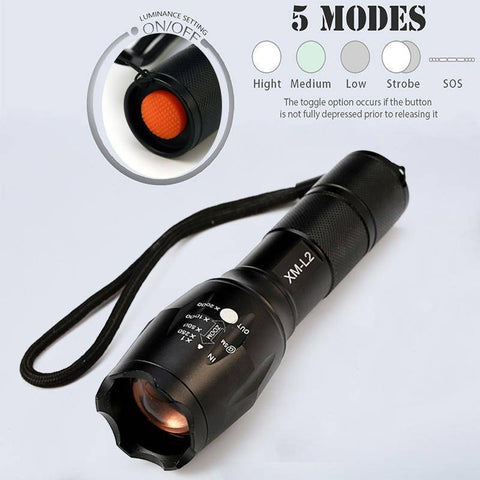 CREE XM-L2 Zoomable LED Flashlight