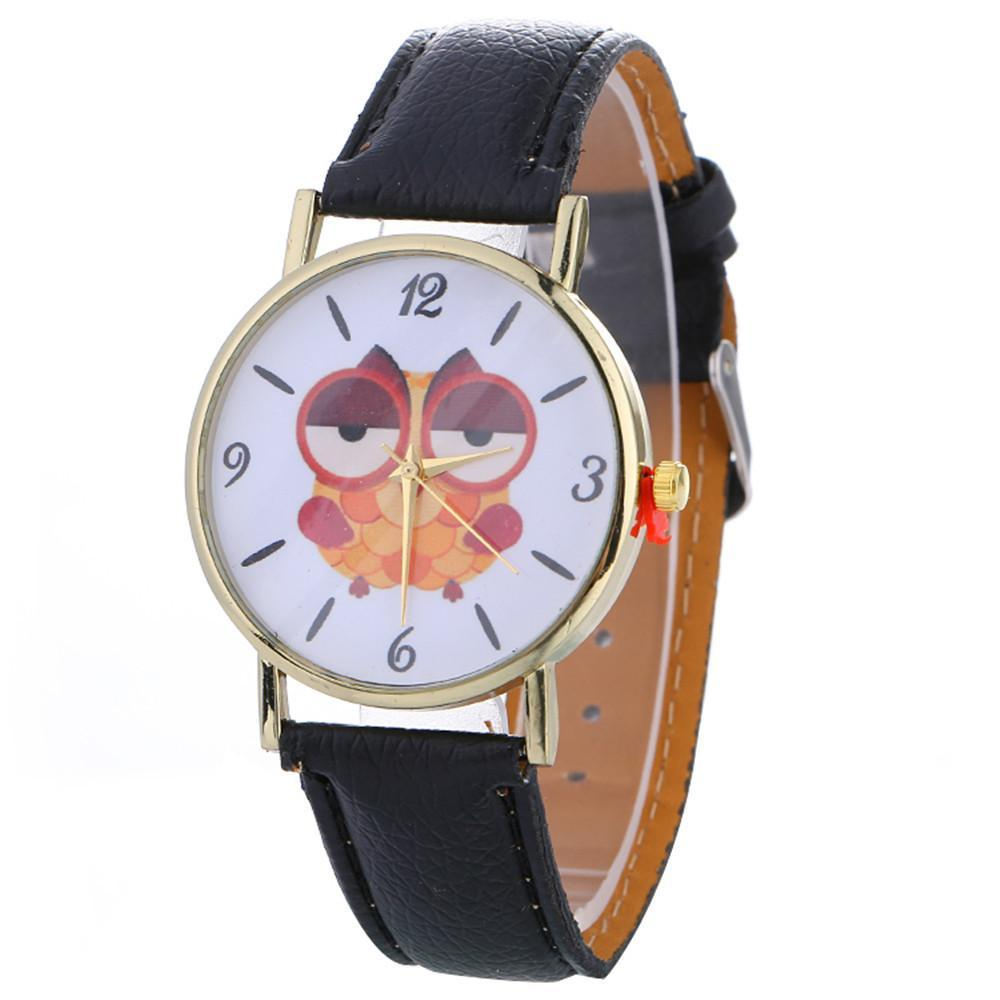 Sleepy Owl Quartz Watch ECO Leather Strap Black