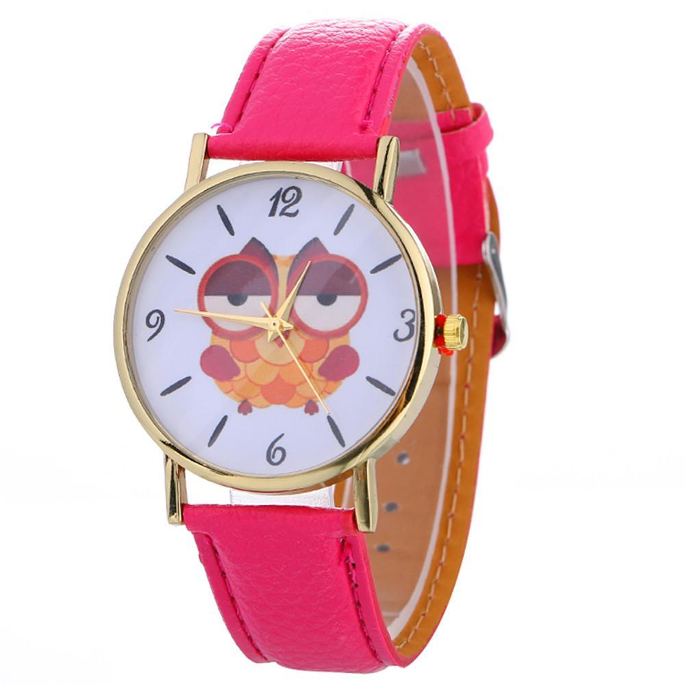 Sleepy Owl Quartz Watch ECO Leather Strap Rose
