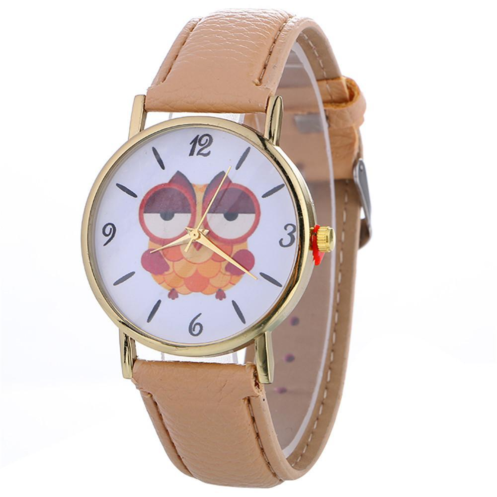 Sleepy Owl Quartz Watch ECO Leather Strap Khaki
