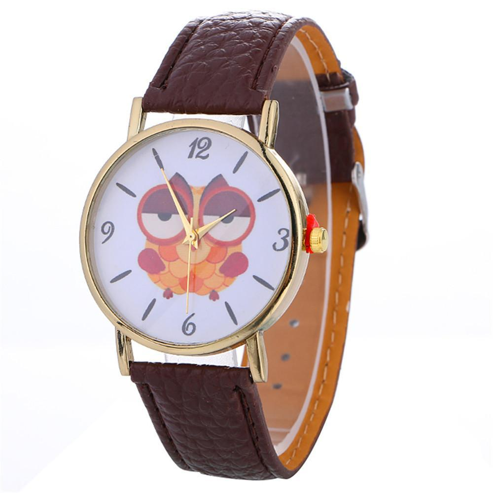 Sleepy Owl Quartz Watch ECO Leather Strap Brown