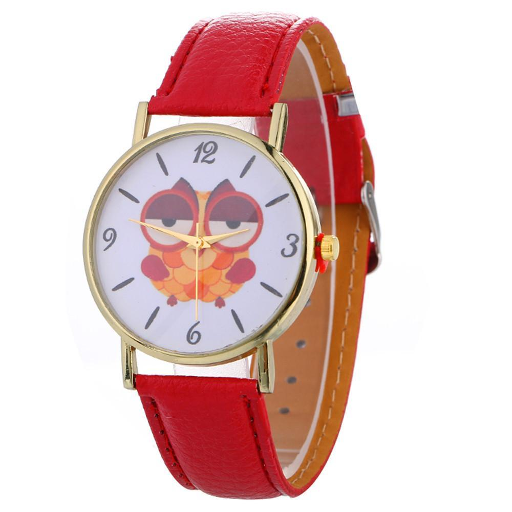 Sleepy Owl Quartz Watch ECO Leather Strap Red
