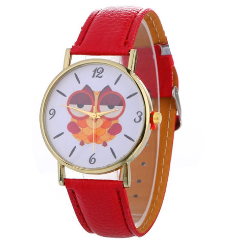 Image of Sleepy Owl Quartz Watch ECO Leather Strap Red