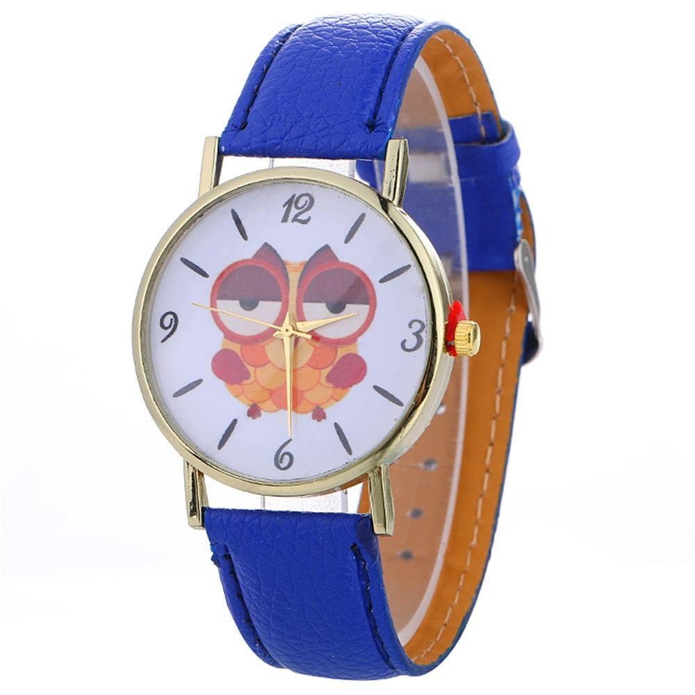 Sleepy Owl Quartz Watch ECO Leather Strap Blue