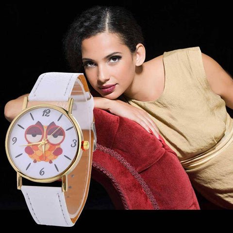 Image of Sleepy Owl Quartz Watch ECO Leather Strap White