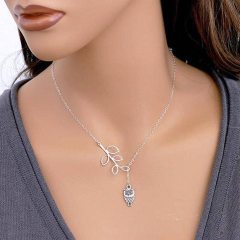 Image of Owl Pendant Platinum Tone Necklace Necklace Default Title