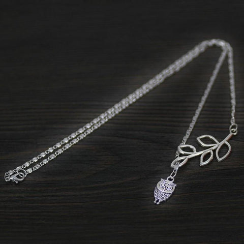 Image of Owl Pendant Platinum Tone Necklace Necklace