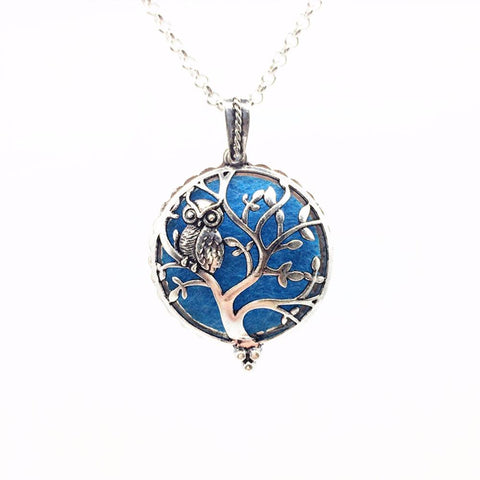 Image of Owl on Tree of Life Vintage Silver Necklace