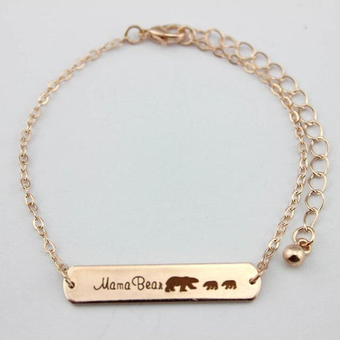 Mama Bear Bracelets Rose Gold 2 Bear 18cm