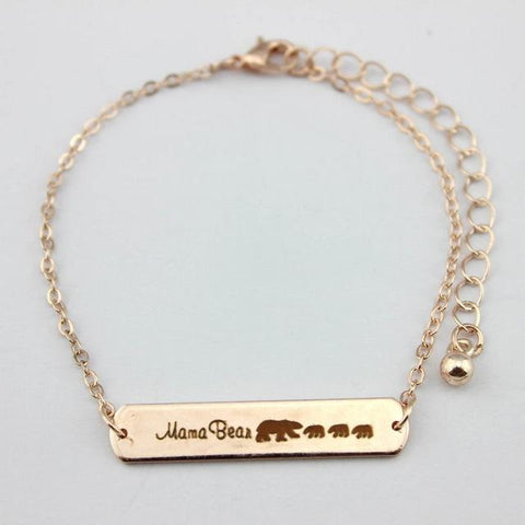 Image of Mama Bear Bracelets Rose Gold 3 Bear 18cm