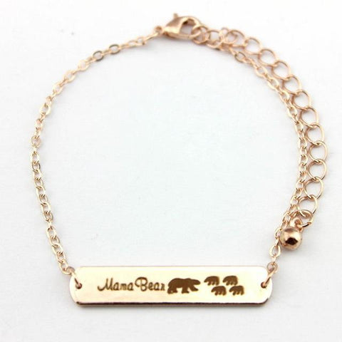Image of Mama Bear Bracelets Rose Gold 4 Bear 18cm