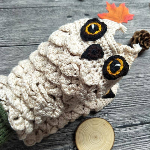 Image of Cute Owl Fingerless Knitted Gloves