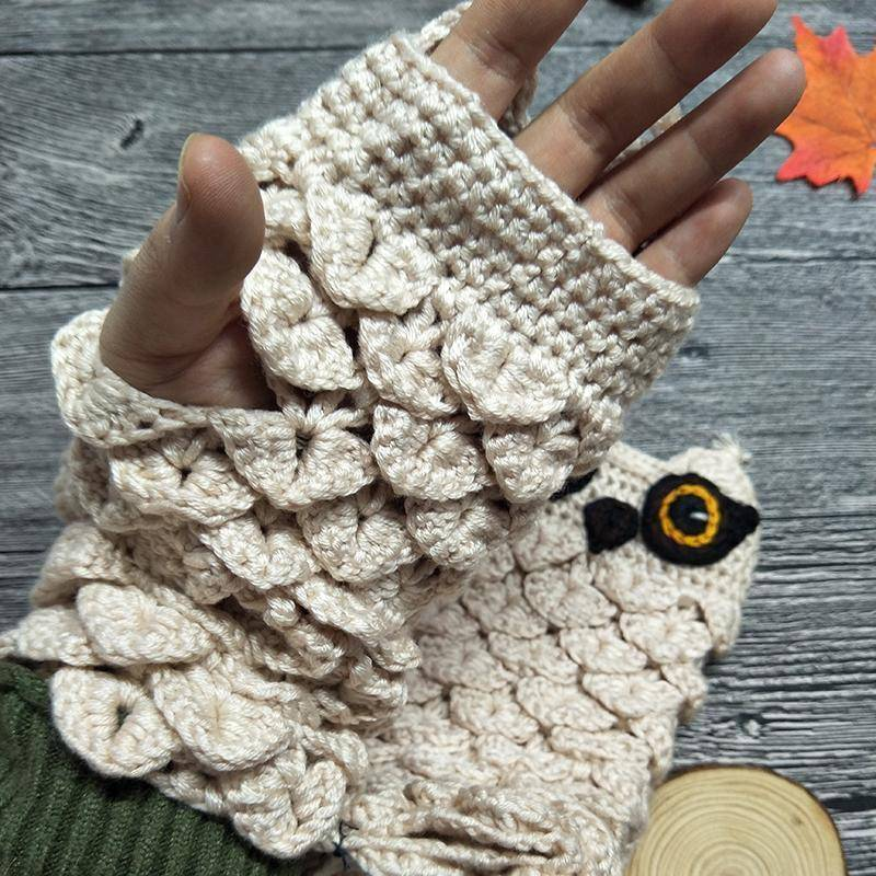 Cute Owl Fingerless Knitted Gloves