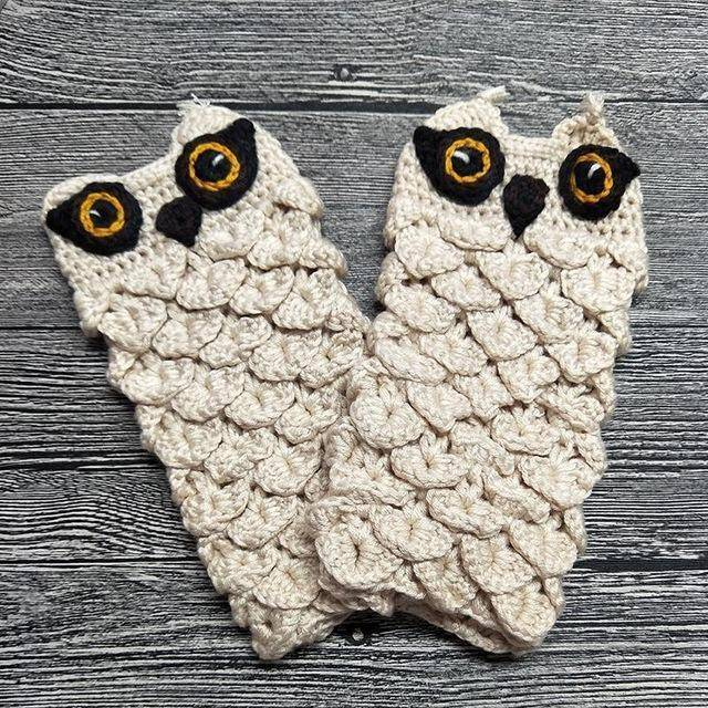 Cute Owl Fingerless Knitted Gloves 20-22cm