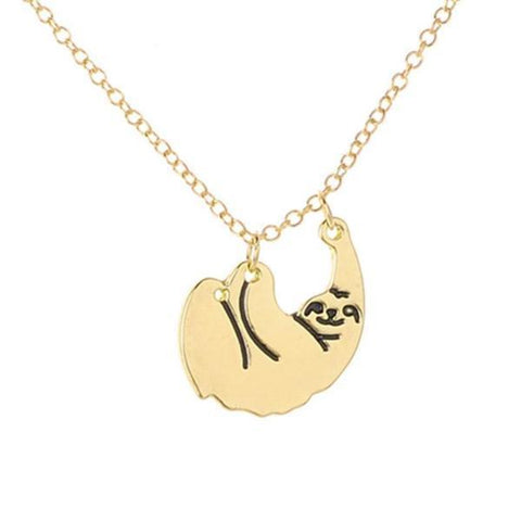 Cute Hanging Sloth Necklace, LIMITED SALE Gold Color