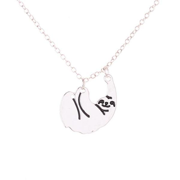 Cute Hanging Sloth Necklace, LIMITED SALE Silver Color