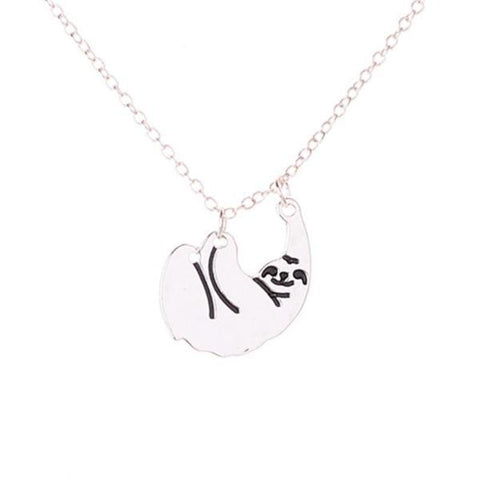 Image of Cute Hanging Sloth Necklace, LIMITED SALE Silver Color
