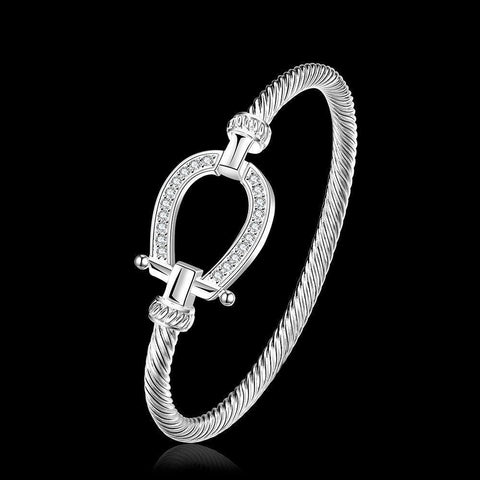 Image of 925 Sterling Silver Horse Shoe Bangle Bracelets