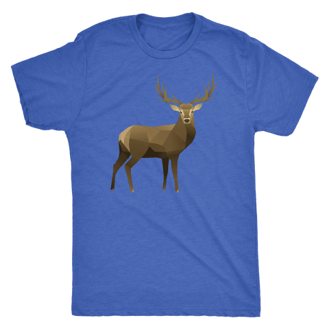 Real Polygonal Deer T-shirt Next Level Mens Triblend Vintage Royal S