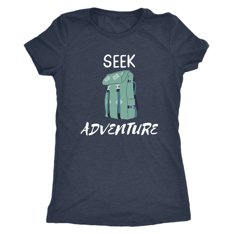 Image of Seek Adventure with Backpack (Womens) T-shirt Next Level Womens Triblend Vintage Navy S