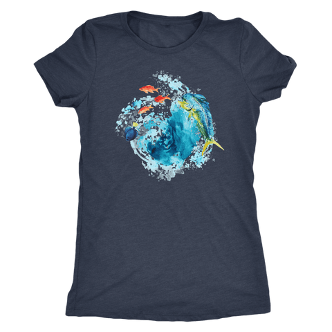 Image of Dorado Fish T-shirt Next Level Womens Triblend Vintage Navy S