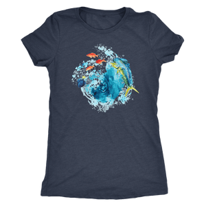 Dorado Fish T-shirt Next Level Womens Triblend Vintage Navy S